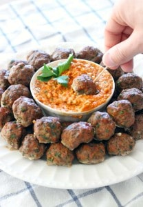 Paleo Greek Meatballs Keftedes and Romesco Sauce_5