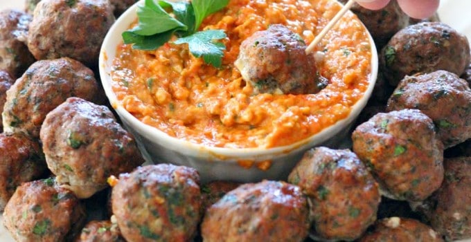 Paleo Greek Meatballs (Keftedes) and Romesco Sauce