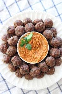 Paleo Greek Meatballs Keftedes and Romesco Sauce_6