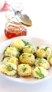 Oven Baked Goat Cheese Balls with Fresh Basil and Honey 3