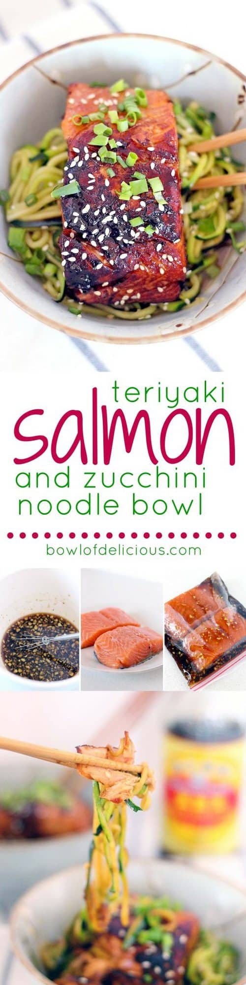This healthy, low carb Teriyaki Salmon and Zucchini Noodle Bowl takes a mere FIFTEEN MINUTES to make and is bursting with that awesome Asian flavor you crave.
