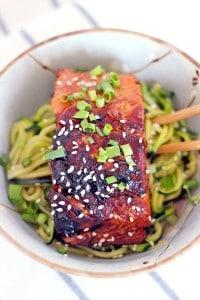 Teriyaki Salmon and Zucchini Noodle Bowls-4