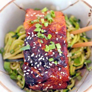 Teriyaki Salmon and Zucchini Noodle Bowl