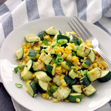 An easy, impressive, simple summer side dish with sweet corn, toasty garlic, and fresh lemon zest. Vegetarian/Vegan, gluten free, and healthy!