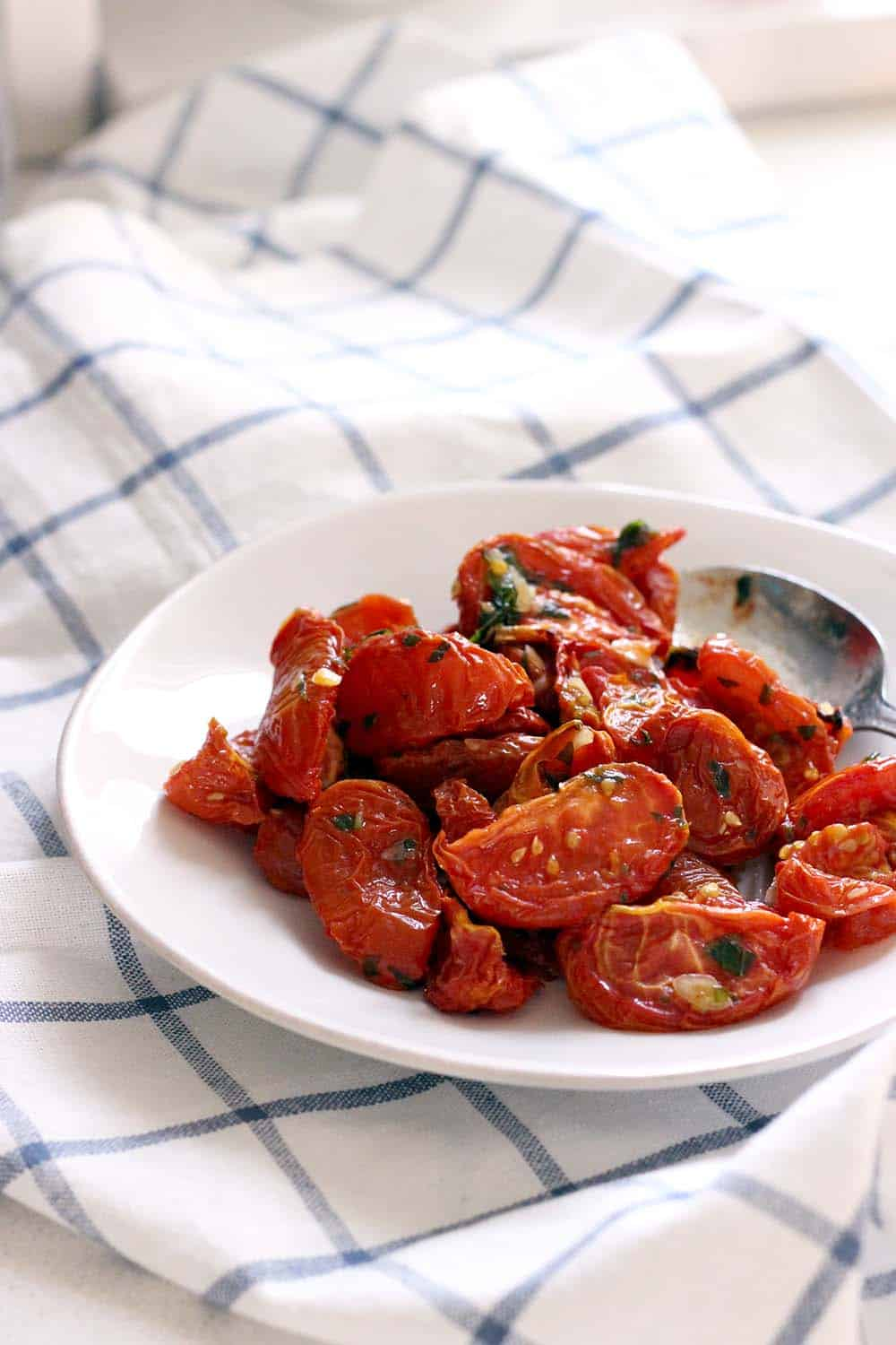 Oven Dried Tomatoes with Garlic and Herb Oil