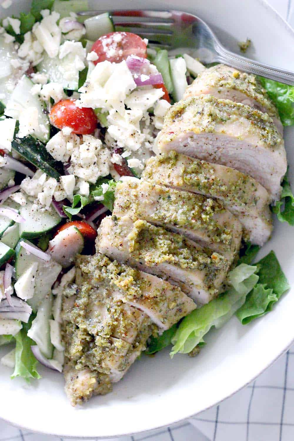Pesto Baked Chicken Breasts: TWO INGREDIENTS is all you need for this healthy, paleo, low carb, lean protein to enjoy as a main course or to add to salads, pizza, sandwiches, etc.