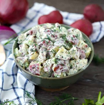 A bowl of potato salad.