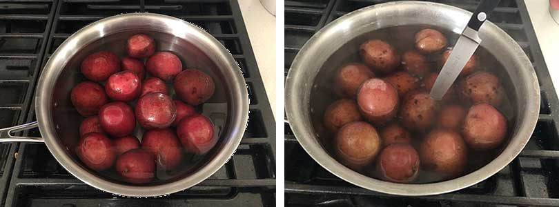 boiling whole red potatoes until soft enough to pierce with a knife.