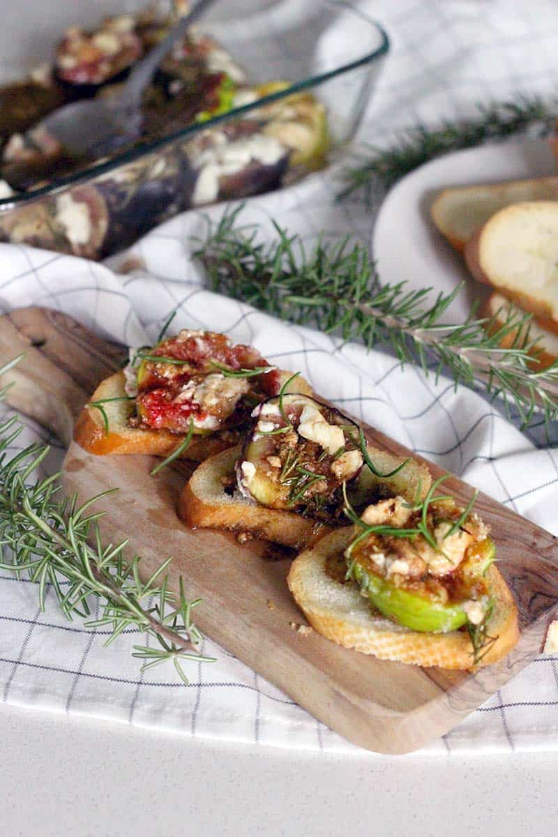 There is NO better way to enjoy fresh figs than roasted, warm, straight out of the oven with melted goat cheese and a sweet, savory, and tangy dressing made from rosemary, honey, and balsamic vinegar spread over crostini. DELICIOUS!