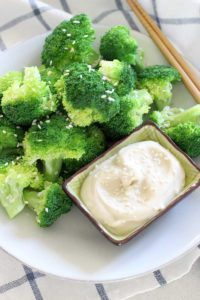 Steamed broccoli is anything but boring when paired with this DELICIOUS dip made from mayonnaise and soy sauce. An awesome low-carb side!