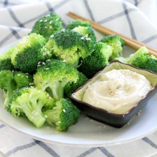Steamed Broccoli with Soy Mayo Dip