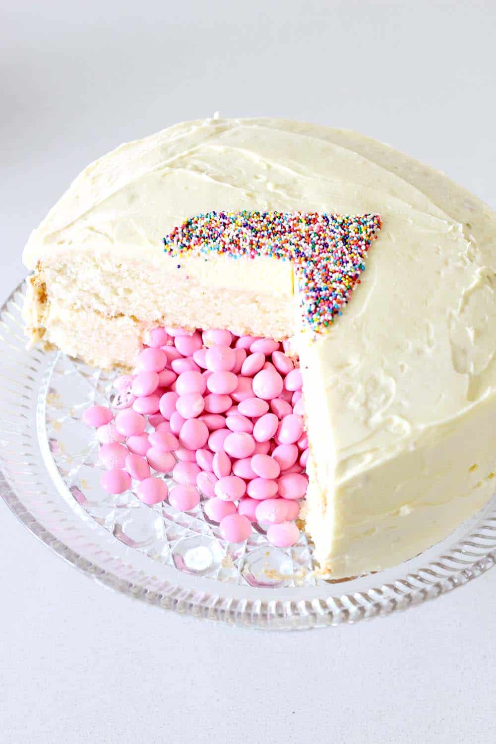 Candy Filled Gender Reveal Cake Tutorial And A Big Huge