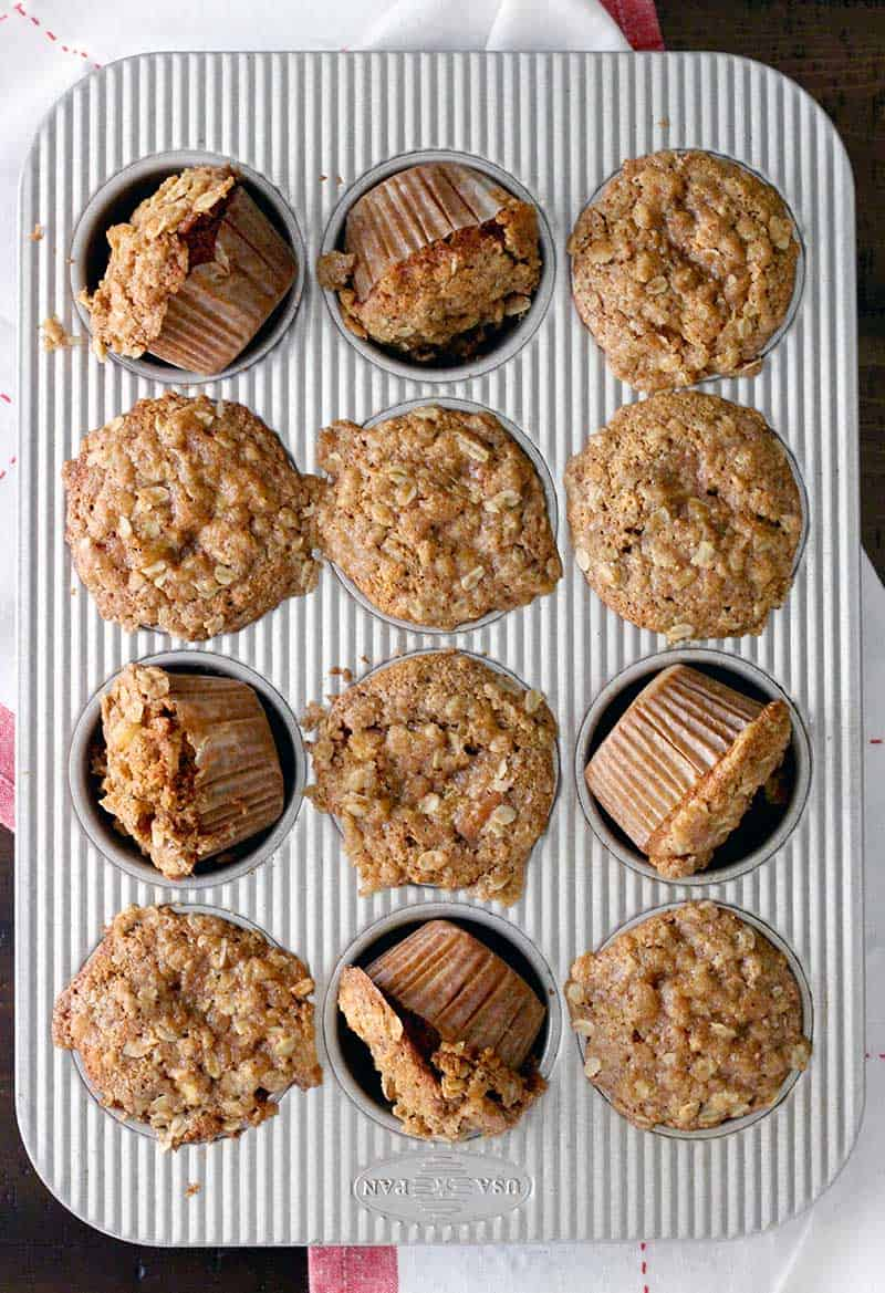 Packed with fresh apples, cinnamon, maple syrup, yogurt, oats, whole wheat flour, and a bit of brown sugar, these muffins are healthy and taste and smell AMAZING- just like fall!