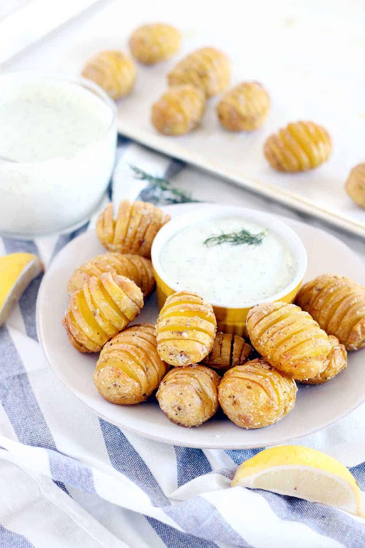 Mini Hasselback Potatoes with Creamy Dill Dip