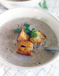 This Mushroom Brie Soup is decadent, rich, earthy, creamy, and so easy to make. Browned butter makes the flavor extra deep for this one pot, vegetarian recipe.