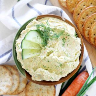 This veggie cream cheese is great as a dip for crackers or veggies, and equally amazing on sandwiches with cucumber slices as a light lunch or classy appetizer. It's gluten-free, vegetarian, and only takes a few minutes to make!
