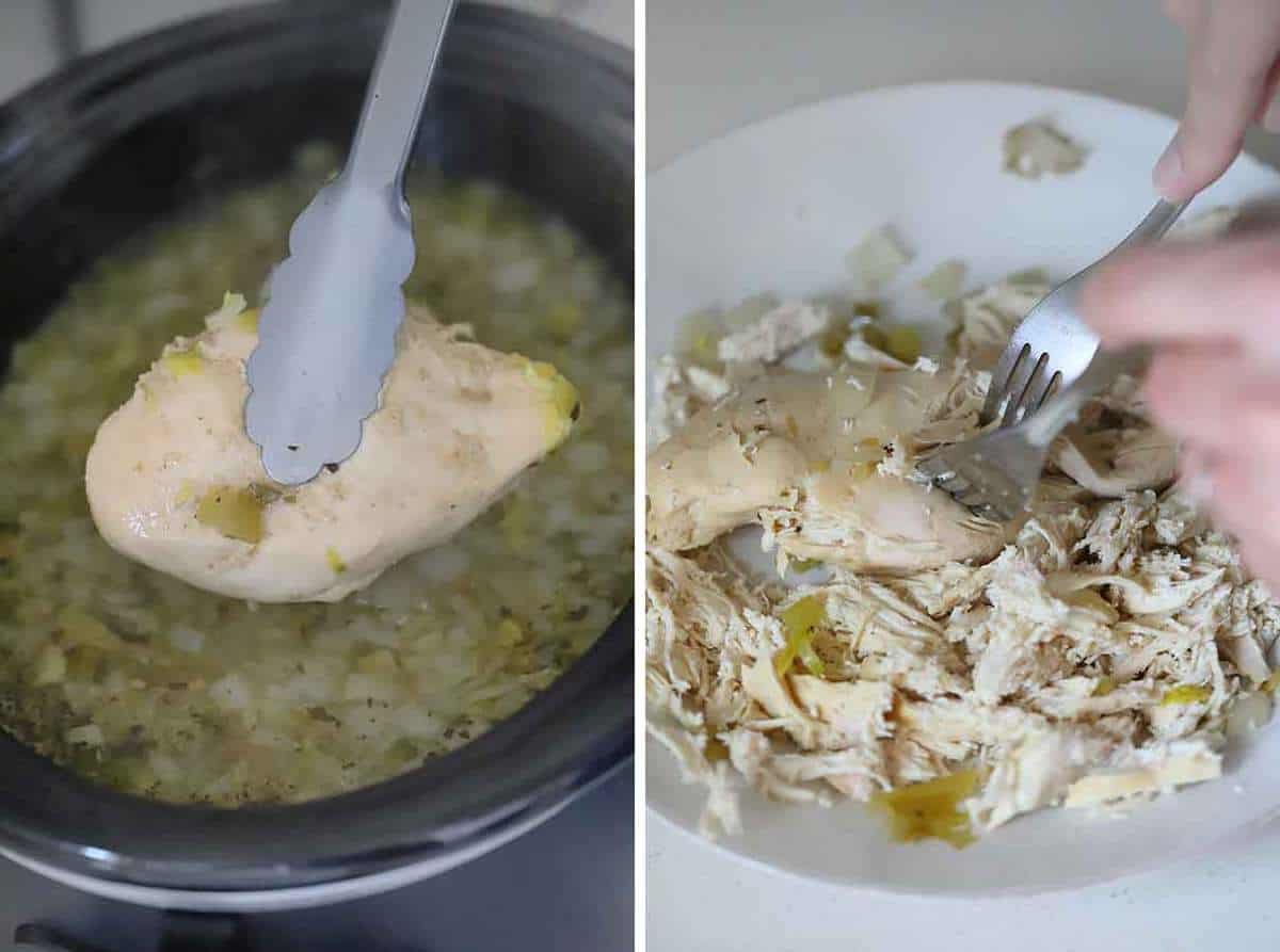 Removing a chicken breast from a slow cooker and shredding it with two forks/