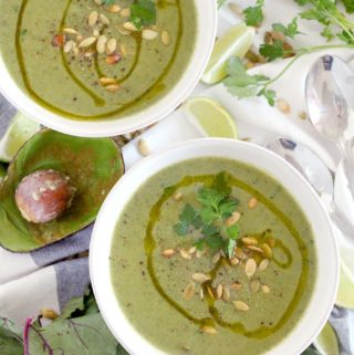 Broccoli Avocado Soup with Beet Greens