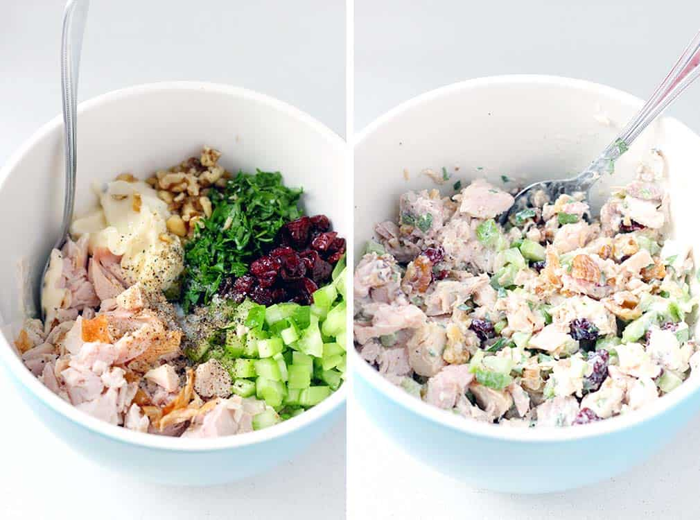 This is the perfect recipe to use up your leftover turkey from Thanksgiving! Turkey salad with cranberries and walnuts make up this creamy, cold, and light salad. Chicken can easily be substituted for turkey. | www.bowlofdelicious.com