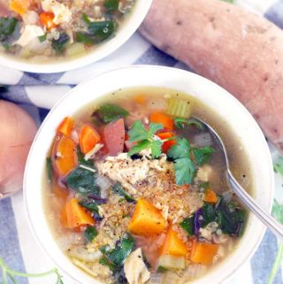 Chicken Soup with Quinoa, Sweet Potatoes, and Greens