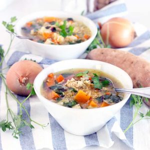 This Chicken Soup with Quinoa, Sweet Potatoes, and Greens is warm, cozy, delicious, and packs a huge nutritional punch. It's gluten free, freezable, and inexpensive to make, and it only takes about 30 minutes to throw together!