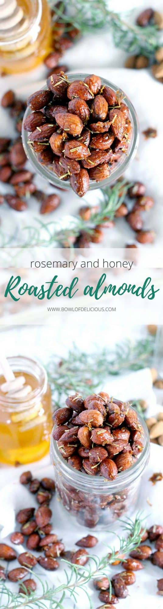 These Rosemary and Honey Roasted Almonds would make an awesome DIY gift for the holidays! They are my new favorite snack recipe- savory, sweet, and nutritious for a guilt-free midday treat! Plus, they're a cinch to make. #Almonds #DIYEdibleGift #RoastedNuts #Honey #Rosemary #HealthySnacks #HolidayGift