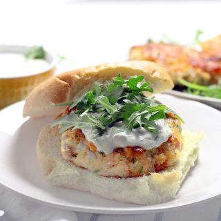 Salmon Burgers with Lemon Caper Aioli