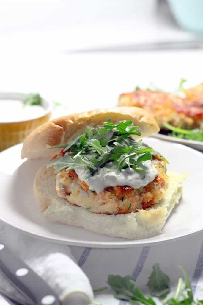 Salmon Burgers with Lemon Caper Aioli | Bowl of Delicious