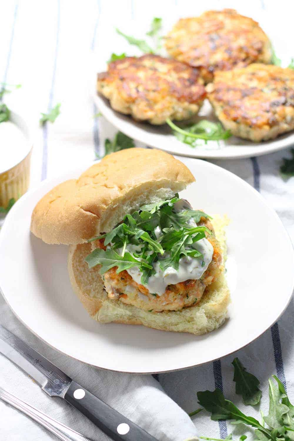 These Salmon Burgers Are Topped With A Lemon Caper Aioli And Are So Easy To  Make