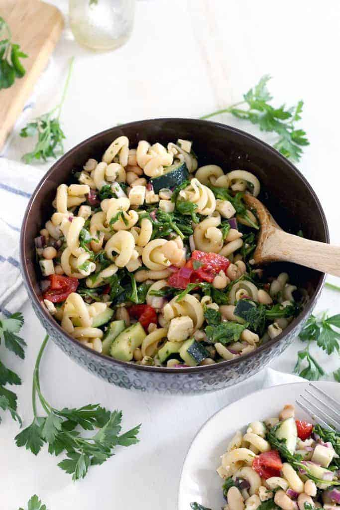 Greek Pasta Salad with Herb Vinaigrette - Bowl of Delicious