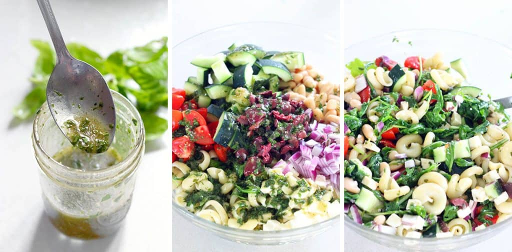 This refreshing Greek Pasta Salad with Herb Vinaigrette recipe is packed with healthy ingredients like white beans, arugula, and fresh veggies. The perfect Mediterranean vegetarian meal or side!
