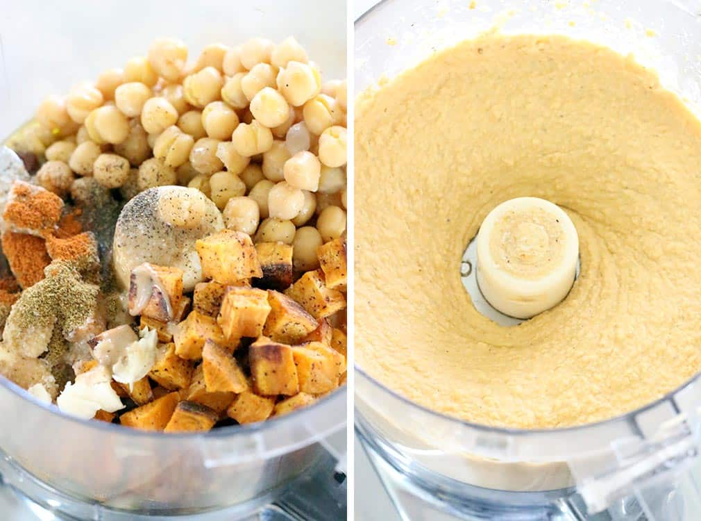 Roasted sweet potatoes add a slightly sweet, toasty flavor to this otherwise traditional hummus recipe. A gluten-free, vegan snack that's great on sandwiches or served with pita bread or crudités.