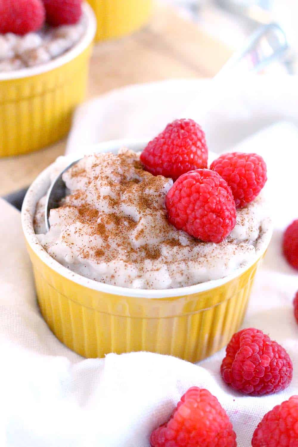This french vanilla dairy free rice pudding recipe uses only TWO INGREDIENTS- dairy free coffee creamer and rice! It's served cold, so it's the perfect make-ahead dessert.