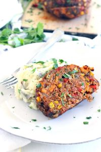 This Southwestern Meatloaf is a healthy, gluten-free option, PACKED with roasted veggies and bursting with Southwestern flavor. It's easy to make this ahead and freeze for later!