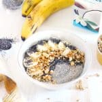 You only need three ingredients for this dairy-free Banana Pudding Smoothie Bowl with Chia Seeds recipe! Sweet french vanilla, creamy smooth banana, and a thick pudding consistency- a delicious vegan breakfast or dessert.