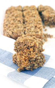 These Maple and Brown Sugar Oatmeal Squares are made with 100% whole grains. A healthy breakfast recipe- they're full of fiber and will keep you satisfied all morning. The perfect grab and go for busy mornings, or to pack in your bag for a long hike.