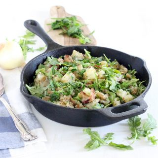 Skillet Potato Salad with Bacon and Arugula