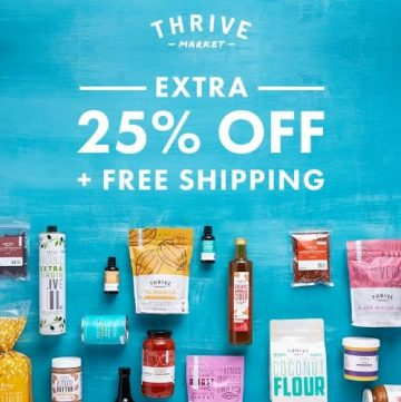 Thrive Market is the smart way to save money on health foods (and more!). And the best part? They donate a membership to a low income family for every membership sold! Thrive Market Discount extra 25% off and free shipping