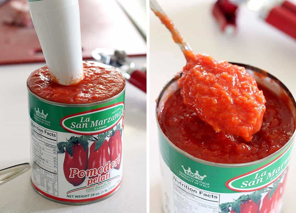 How to crush tomatoes using an immersion stick blender