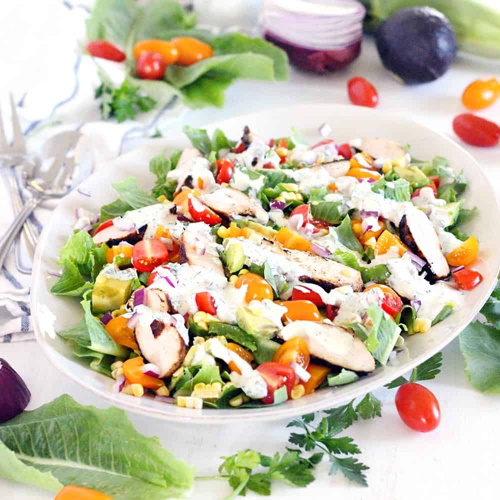 This lighter version of Cobb Salad with Buttermilk Ranch Dressing is PACKED with flavor. It's a healthy and hearty gluten-free recipe, and it won't weigh you down.
