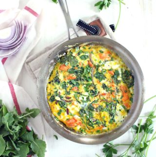 Salmon, Arugula, and Feta Frittata