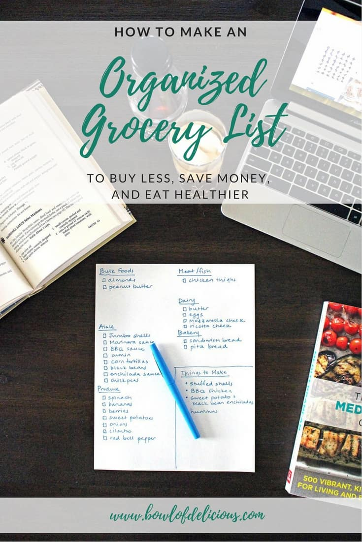 Making an organized grocery list is the key to saving money and eating healthier! You can buy less, waste less, and eat at home more frequently with these tips. #MealPrep #GroceryList #Organization