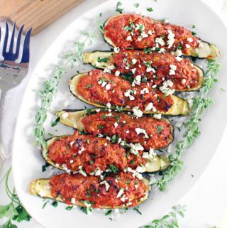 Paleo Greek Stuffed Zucchini Boats