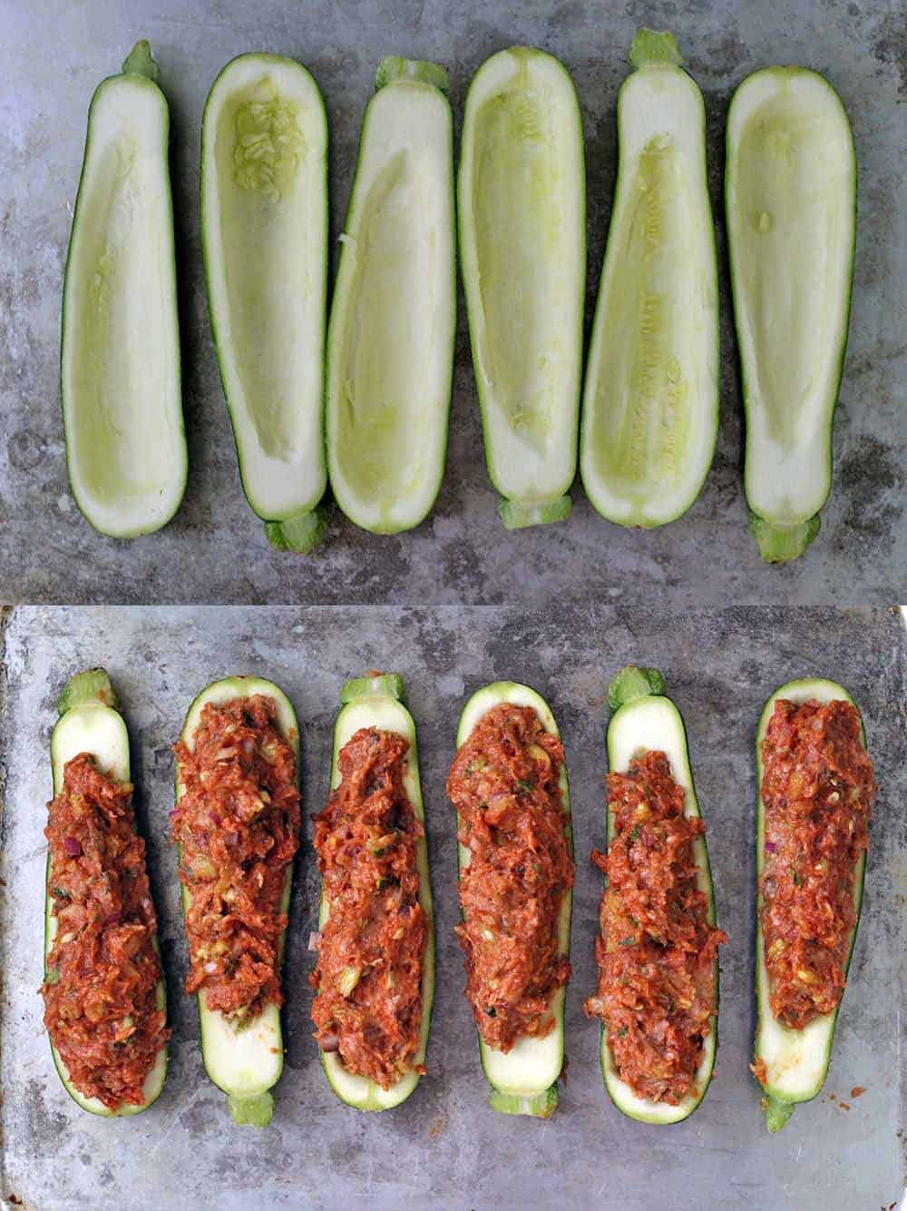 These Paleo Greek Stuffed Zucchini Boats are super healthy and low-carb! Made with lean ground turkey and seasoned with Mediterranean flavors. Only 15 minutes of prep!