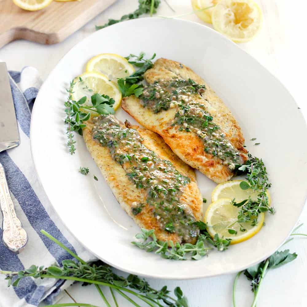 Pan Fried Sea Bass With Lemon Garlic Herb Sauce Bowl Of Delicious