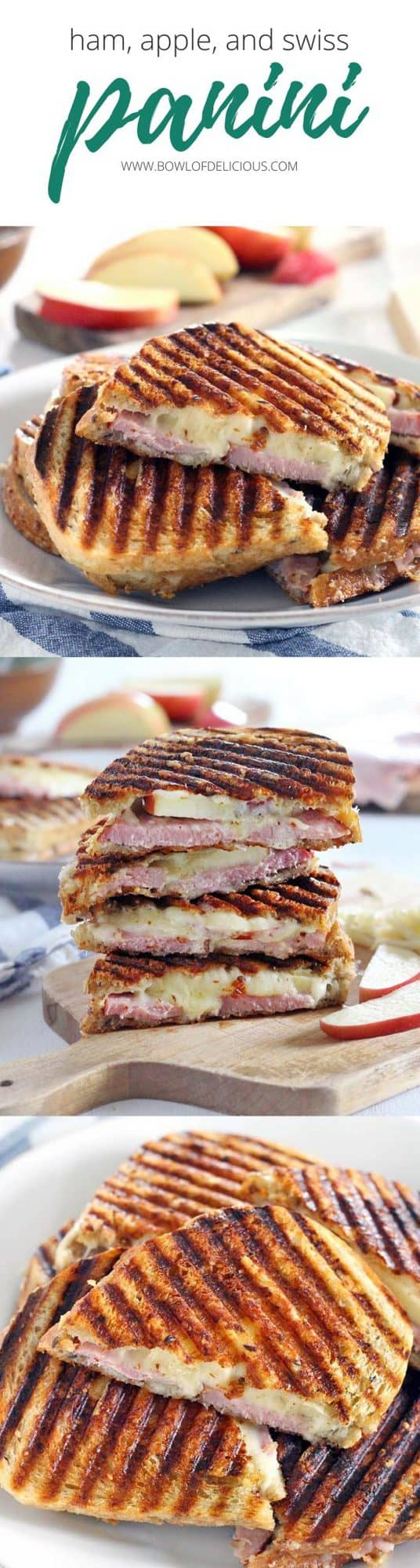 These ham, apple, and swiss panini are the perfect fall sandwich! Use up leftover ham from the holidays and take advantage of the crisp apples the season has to offer. #sandwiches #fallrecipes #apples
