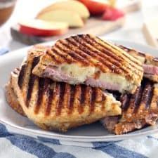 These ham, apple, and swiss panini are the perfect fall sandwich! Use up leftover ham from the holidays and take advantage of the crisp apples the season has to offer.