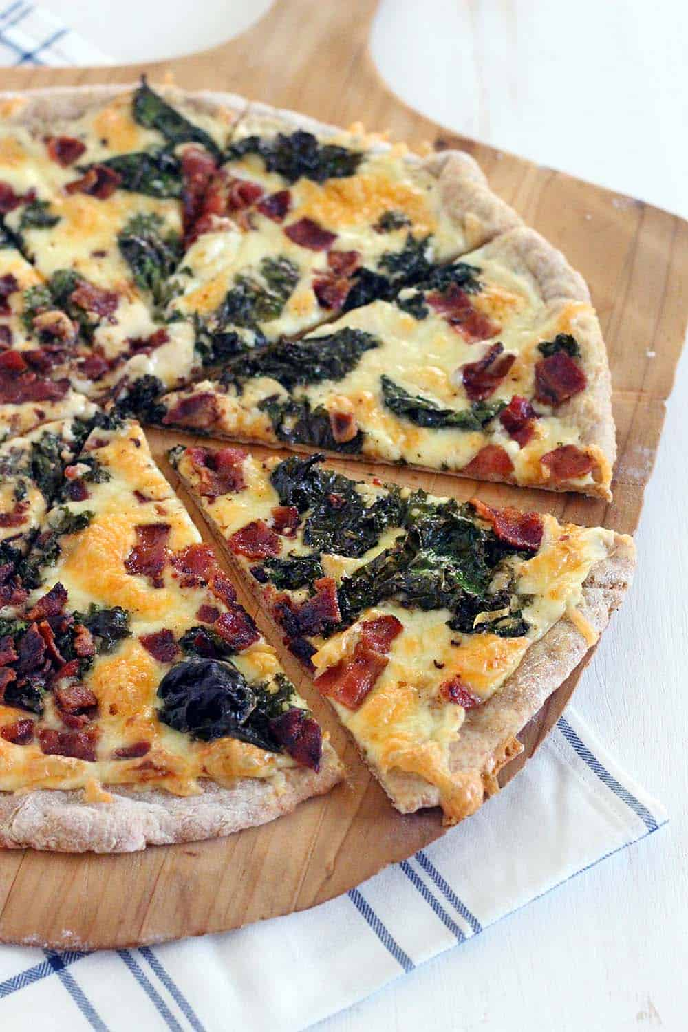 Crispy Bacon and Kale Pizza