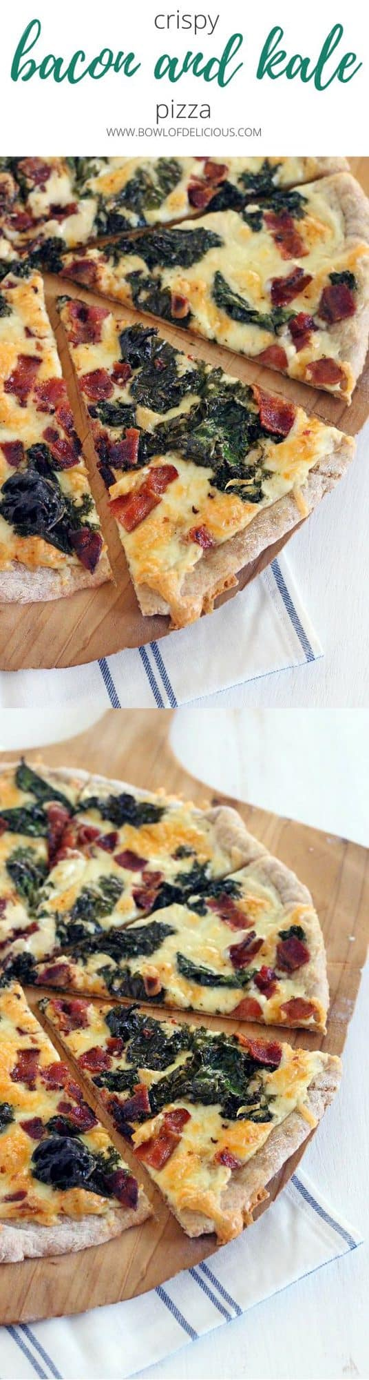 This Bacon and Kale Pizza is topped with super crispy kale and bacon pieces. This recipe comes together with only 5 ingredients in under 30 minutes! #pizza #kale #bacon