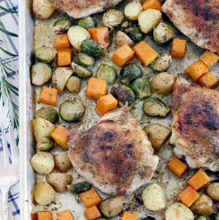 Maple and Rosemary Glazed Chicken and Fall Veggies Sheet Pan Dinner